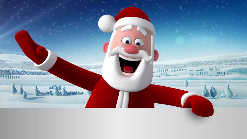 D new year greeting card christmas animation of santa