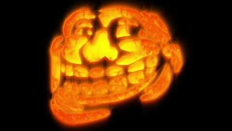 Troll meme pumpkin face with some glowing and fire effects.