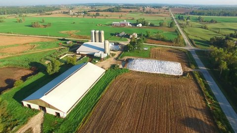 Scenic Rural Midwest Heartland Flyover, Landscape With Farms, Silos