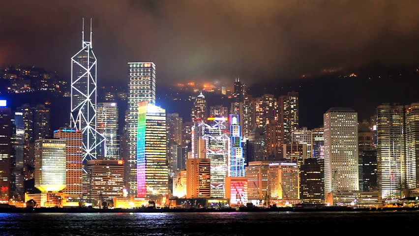 Skyscrapers in Hong Kong. Timelapse
