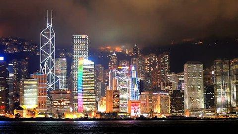 Skyscrapers in Hong Kong. Timelapse