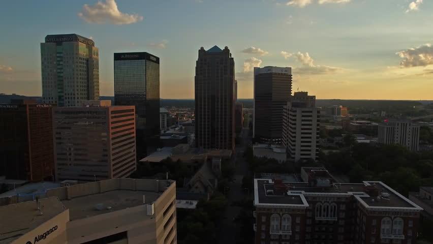 Aerial video of Birmingham Alabama at sunset.