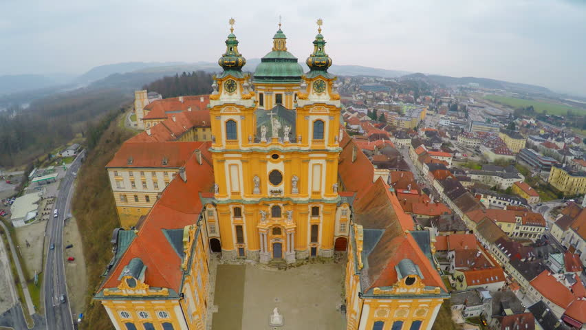 Flyover view of famous Baroque-style abbey in Melk, Austria. Inner yards visible