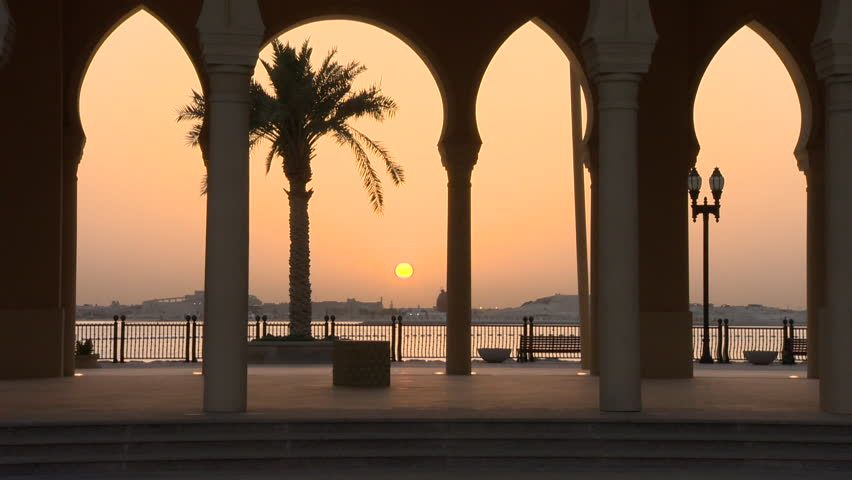 Sunset viewed from the Pearl Doha Qatar | Shutterstock HD Video #12017645