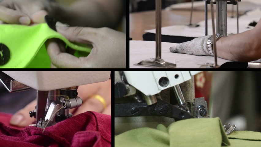 Montage of industrial sewing clips