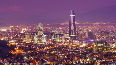 Timelapse of Santiago skyline at Dusk. Chile