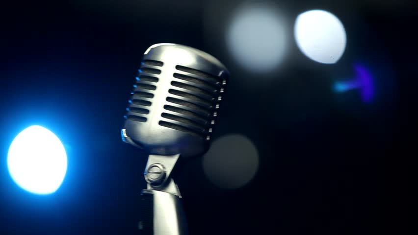 Old Vintage Microphone On Background Stock Photo, Picture And ...
