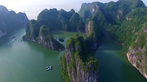 Aerial view of Ha Long Bay, Vietnam. Halongbay is World Natural Heritage of Quang Ninh, Vietnam.