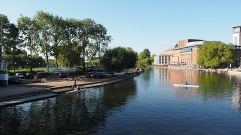STRATFORD UPON AVON, UK - SEPTEMBER 26, 2015 - River Avon in Shakespeare birthplace