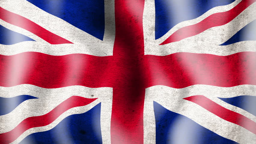 A worn grunge national 3d  british flag waving.