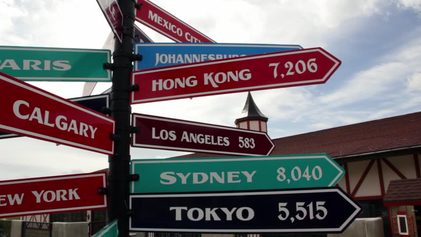 A sign with international cities, their direction and their distances