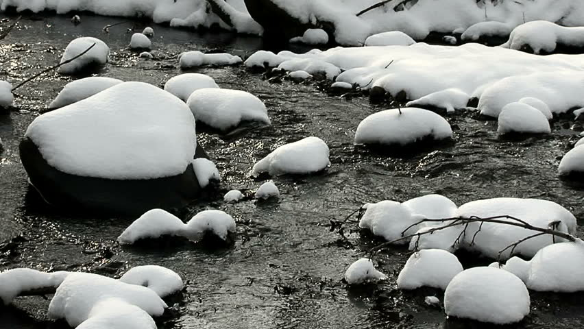 Snowy stream with many rocks after snowfall with good sound.