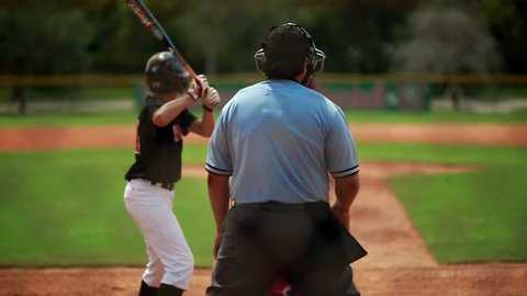 Cool slow motion of baseball player batting. Shot from behind home plate