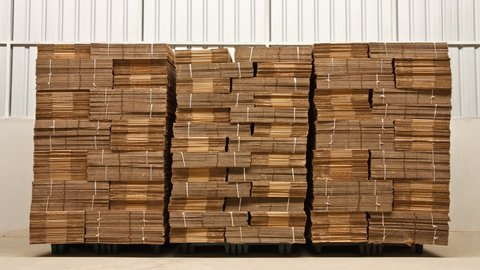 Stacks of folded paper boxes in industry warehouse - timelapse