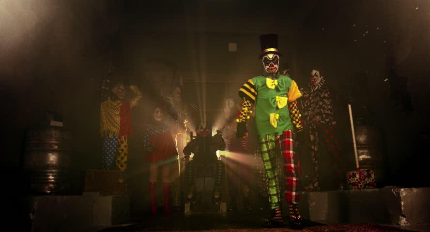 A group of clowns. Two clown acrobat dance break dance. Halloween party. | Shutterstock HD Video #12148703