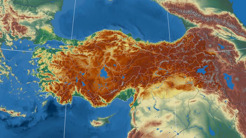 Tokat Region Extruded On The Physical Map Of Turkey Rivers And