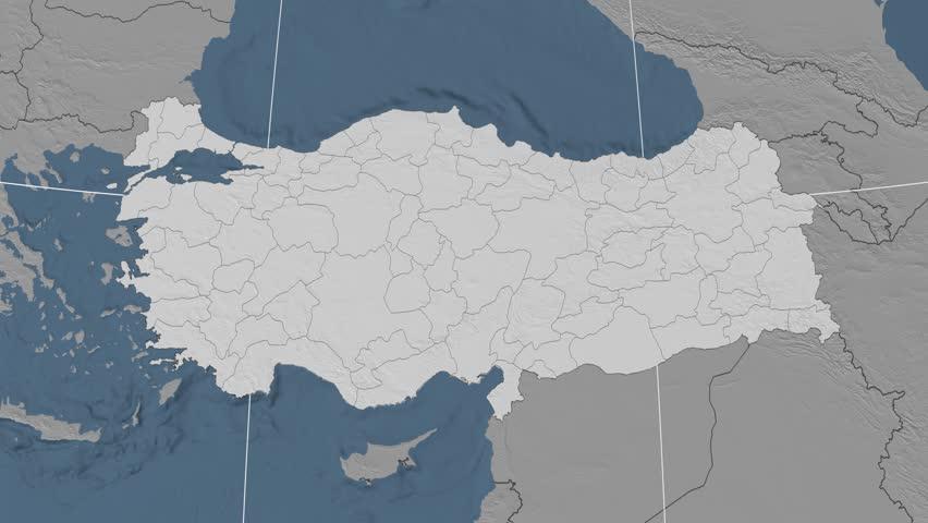 Tekirdag Region Extruded On The Elevation Map Of Turkey Elevation