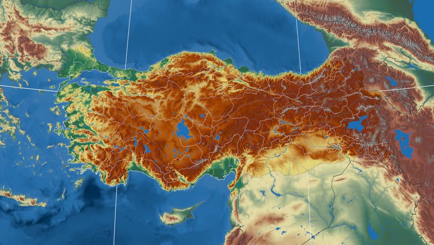 Gumushane Region Extruded On The Physical Map Of Turkey Rivers And