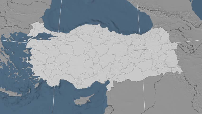 Kutahya Region Extruded On The Elevation Map Of Turkey Elevation