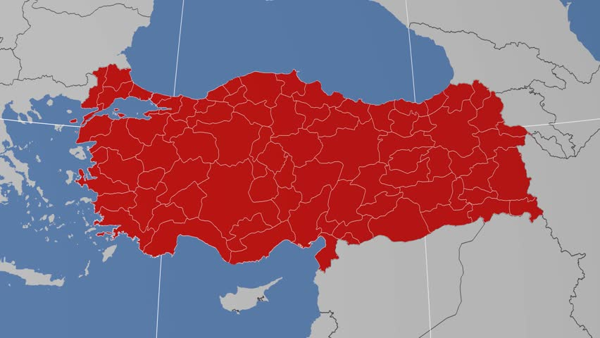 Tokat Region Extruded On The Administrative Map Of Turkey Solid