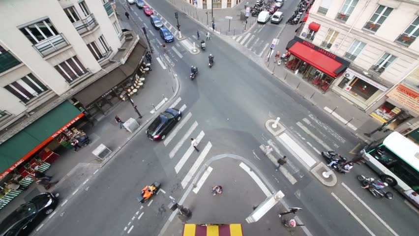 PARIS, FRANCE - SEP 11, 2014: Crossroad against hotel Metropole at intersection of streets Louis Blanc and La Fayette. #12168875