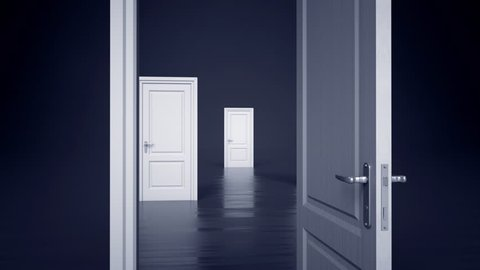 3d opening white doors on black background, light at the end