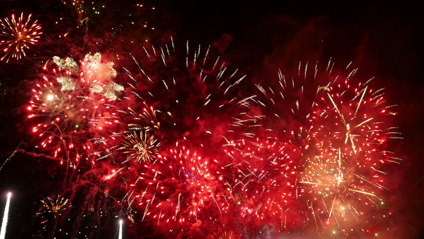 Fireworks. Holiday celebration. Colorful fireworks at holiday night. 4K UHD.   Shutterstock HD Video #12183089