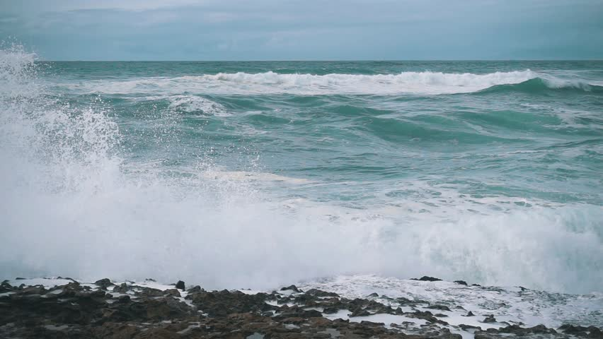 Slow Motion Ocean Waves Breaking on Shore, storm weather | Shutterstock HD Video #12255065