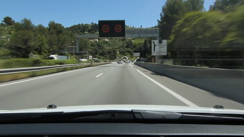 Highway in Nice, France on May 14th, 2015. Driving from tunnel to tunnel on the A8 autoroute, also known as La Provençale, is a 224-kilometer (139 mi) long highway in France