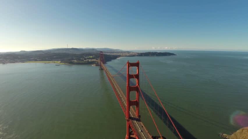 Aerial Video Of The Golden Gate Bridge In California