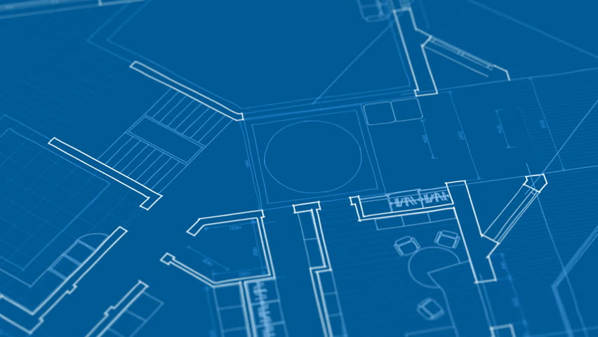 Architecture House Plan Background Blueprint Animation Writing