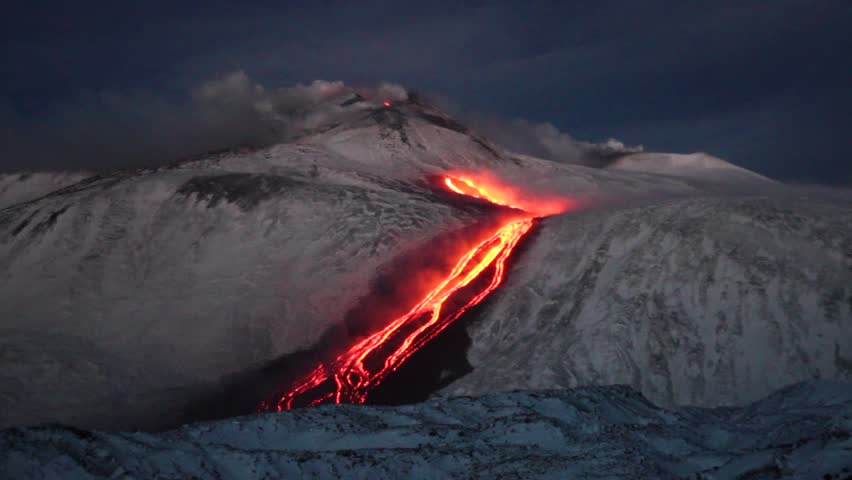Lava flow on the volcano Etna