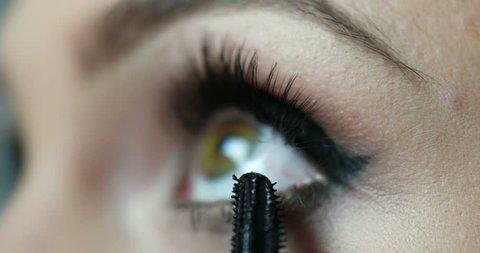 Make-up artist applying eyelash makeup to model's eye. Close up view.