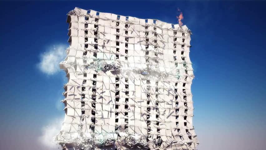 Destruction of the building. Realistic 3d animation