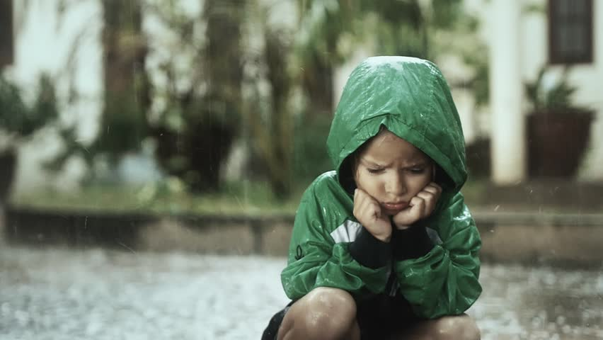 Poor Lonely Child Sitting Alone Stock Footage Video 100 Royalty