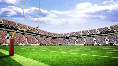 View of an american football stadium with sunny weather
