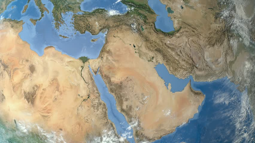 Night To Day Rotating Earth Zoom In On Egypt Outlined - World map satellite hd