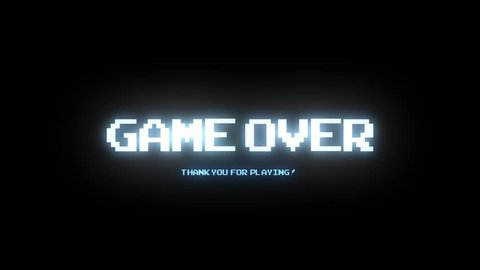 GAME OVER THANK YOU FOR PLAYING LIGHT BLUE / GAME OVER THANK YOU / GAME OVER TEXT IN LIGHT BLUE COLOR