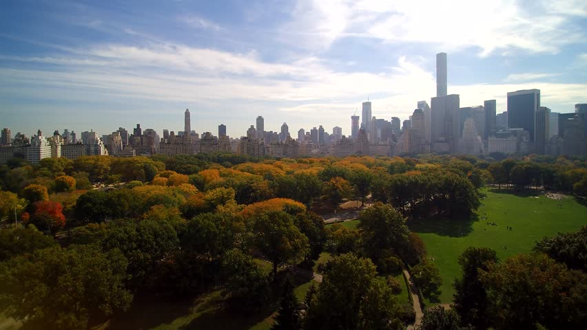 Central Park SOUTH AERIAL, early fall. 4k Aerial shot of Central Park, New York City