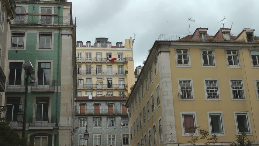 Lisbon Old Buildings Downtown Hd Stock Video Clip