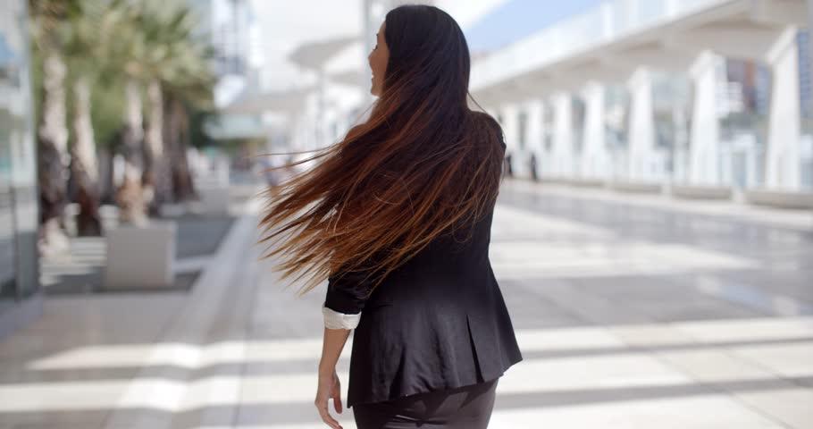 Happy Beautiful Business Woman Standing On Outdoor City Promenade on Slow Motion Video | Shutterstock HD Video #12425255