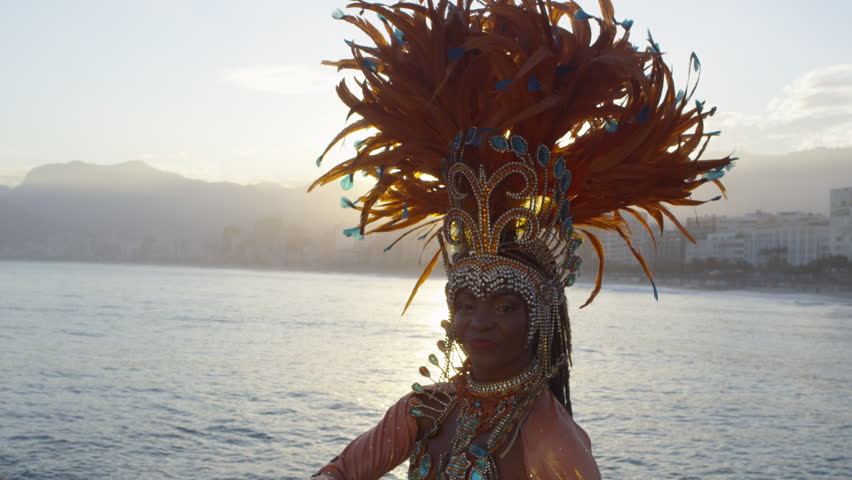 Portrait of woman dressed for Carnival