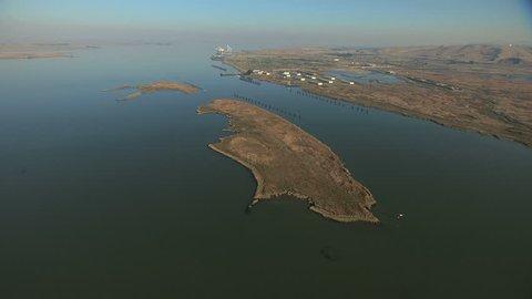 Aerial USA San Francisco Bay wildlife San Joaquin River