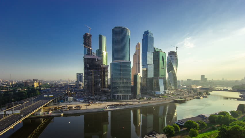 Skyscrapers International Business Center City at evening before sunset timelapse from top, Moscow, Russia 4K | Shutterstock HD Video #12443795
