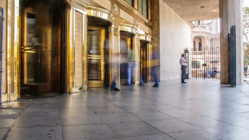 Entrance to the Public building timelapse.  Revolving Doors 4K