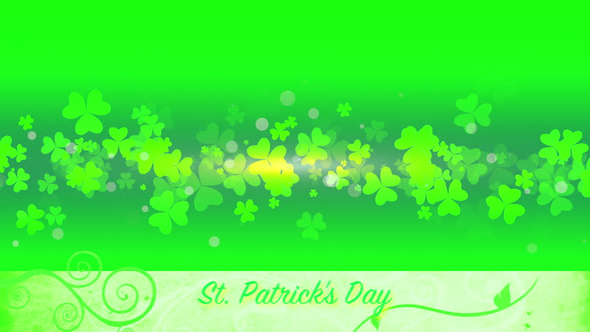 St. Patrick's animated clovers against a green and yellow vignette background. For use as a general backdrop, design element or as an overlay for placement of text or other copy.   Shutterstock HD Video #12460625