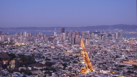 SAN FRANCISCO - Circa October, 2015 - A looping time lapse of the evening San Francisco skyline as seen from Twin Peaks. Loopable.