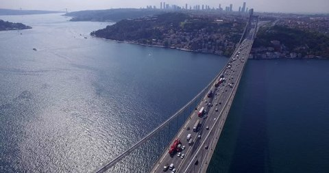 Aerial view of the Istanbul bosphorus bridge