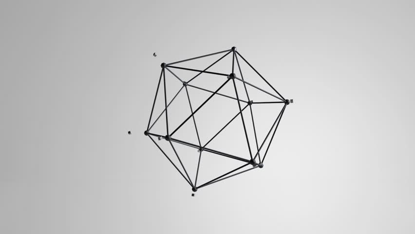 Icosahedron figure 3d render floating with particles loop | Shutterstock HD Video #12611924
