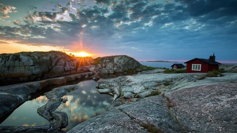 Stockholm archipelago, Sweden. Small cottages on some outer skerries in the Baltic Sea.